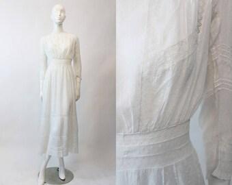Edwardian Swiss Dot Dress XS / 1910s Antique Lace Gown / Swiss Miss Dress