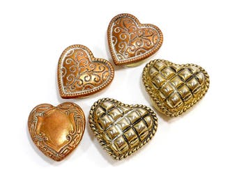 5 Vintage Button Covers | Copper Hearts | Costume Clothing Accessories | Ladies Shirt Button Covers | Crafting Supplies