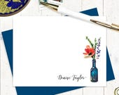 personalized stationery set - WATERCOLOR FLOWERS in BLUE wine bottle - set of 12 flat note cards - choose envelope color - poppy flower card
