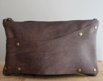 Leather Strap Clutch: Reclaimed Brown Leather Brown Dressy Edgy Punk Purse Small Leather Bag Evening Bag Dress Up