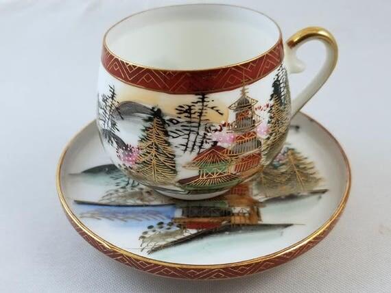 Vintage hand painted Kutani Japan demitasse geisha lithophane cup and saucer, porcelain, china, bone china, tea, coffee, tea time, high tea