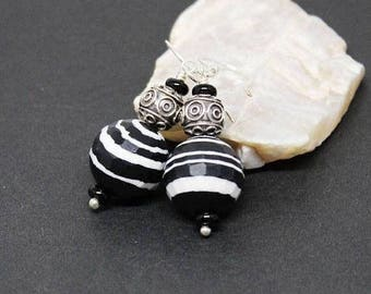 Calsilica and Black Onyx Gemstones . Sterling Silver Dangle Drop Earrings . Striped Black and White . E16126
