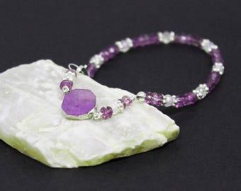 Phosphosiderite, Amethyst, and Mystic Quartz Gemstones . Sterling Silver Layering Bracelet . Lavender Purple, Clear . B16117
