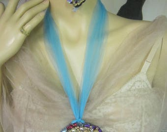 Frozen Beaded CC Necklace, UNIQUE Necklace, Hand Beaded, Inspired Necklace,  Hand Painted, Art to Wear,