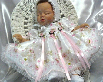 DRESS White Organza Pink Floral Embroidery for REBORN or BABY