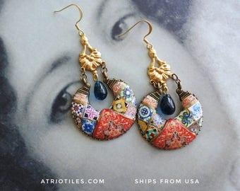 Earrings Chandelier Persian Tile Portugal Azulejo Antique Replica Bohemian Persian Boho Tribal Gypsy Gypsy Ethnic OOAK