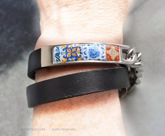 Bracelet Portugal Tile Leather Azulejo Stainless Steel WRAP  -  Porto Ericeira  Jeans Bohemian  - Ships from USA