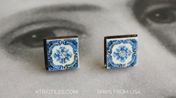 STUD Earrings Tile Portugal Blue Stainless Steel Posts OVAR - Blue Hypo Allergenic (see photo of actual Facade) Gift Box Included 439
