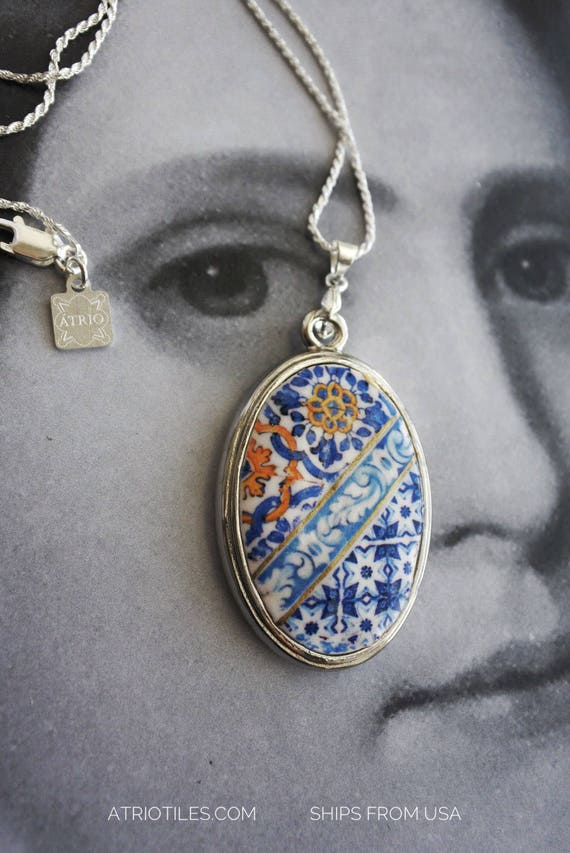 Necklace Portugal Tile Ericeira 17th century Azulejo Replica and Porto Blue Silver Chain Ships from USA Gift Box Included