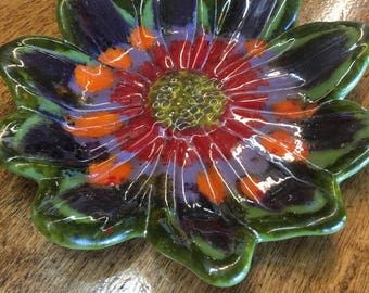 Fused Glass Flower Daisy Dish