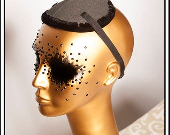 Circular Fascinator Hat Base Black with Lining and Straps... Base For Headdress Hat Millinery Foam DIY