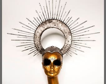 Celestial Light... Halo In Silver With Spikes Studs Rhinestones Nimbus Religious Iconography Virgin Mary