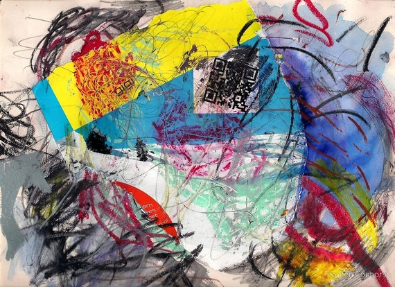 influence... intuitive mixed media collage on paper