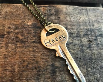 Rebel Vintage Brass Key Necklace-Brass Chain- Gift for her