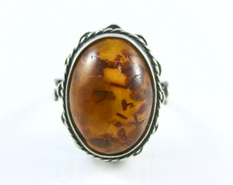 Size 5 1/2 Vintage Oval Amber Sterling Silver Ring