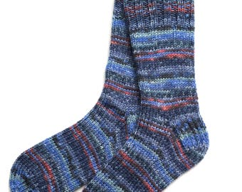 Socks for Women and Girls, Hand Knit, wool and nylon, knitted socks, worsted weight, blue coral charcoal, OOAK, mismatched, heavy socks