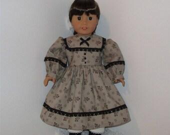 "Gray Civil War Dress and Pantaloons, Fits 18"" Dolls // AG Doll Clothes, AG Doll, American Girl Dress, Historical, Period, Pantaloons"
