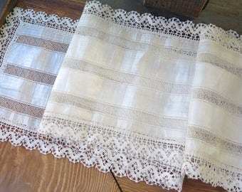 """Vintage Irish Linen Table Runner/Dresser Scarf with Filet and Bobbin Lace Trim 61"""" x 10.5"""" Wide"""