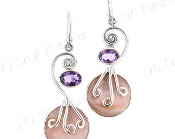"1 1/16"" Pink Mother Of Pearl Shell Amethyst 925 Sterling Silver Earrings"