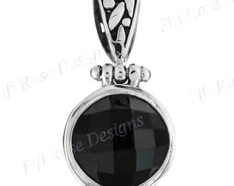 "1"" Gorgeous Checkerboard 4.5ct 11mm Onyx 925 Sterling Silver Pendant"