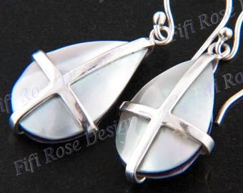 "7/8"" Blue Mother Of Pearl Shell 925 Sterling Silver Earrings"
