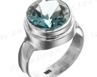 Big 4.5ct Blue Topaz 925 Sterling Silver Sz 9 Ring
