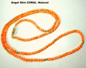 Angel Skin Peach Coral Long Necklace, Petite Sweet Tiny Round 2.5mm Beads Punctuated with Gold, 1980s UNDYED Polished Natural Color