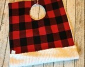 Buffalo Plaid Toddler Pocket Bib | Soft Red and Black Flannel | Full Coverage Big Size