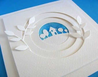 Silhouette on Watercoloured Sky Ivory Layered Card with Turquoise, Ivory or No Foliage Accents / Measures approx 6x6 in / Ready to Ship
