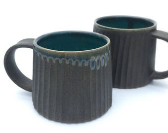 Pair of Handmade pottery stoneware mugs 12 ounce in charcoal and turquoise