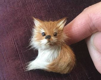 Vintage Hand made Fox Brooch with Real Fur