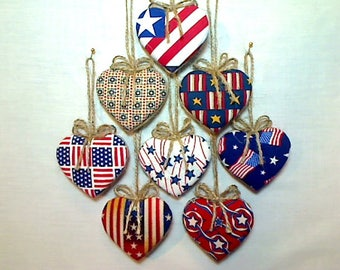Americana Heart Ornaments |4th of July |Americana Decor |Stars and Stripes |Red White Blue |Party Favor |Patriotic Decor |Folk Art|Set/8 |#1