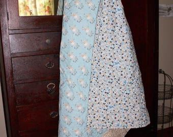 Quilted lap blanket, fawn, woodland, blue, leaf motif, cotton
