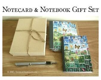 Notecard & Notebook Gift Set | Boxed Stationery Set | Gift for Letter Writer, Penpal | Matching Blue Green Landscape Postage Stamp Art Print