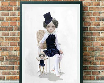 Lowbrow Art - Lowbrow - Girl & Puppets - Puppet Show Art - No Strings Attached