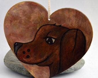 WOODEN Heart hanging decoration, Brown Dog