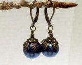 antique-look Blue Pearl Earrings, oxidized brass