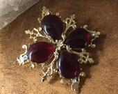 Renaissance Revival Rhinestone Ruby Red Teardrop Brooch Pin Unsigned 1960's 1970's Regal Royal Gold Tone Metal Crowns Ornate Feminine Woman