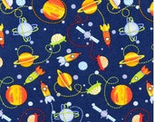 Made to Order Rockets and Planets in Space Flannel Unisex Adult Pajama Pants