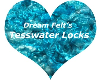 Dream Felt's Beautiful Caribbean Sea Blue Teeswater Locks 1 oz Needle Felting, Wet Felting, Spinning, Doll Hair and more!