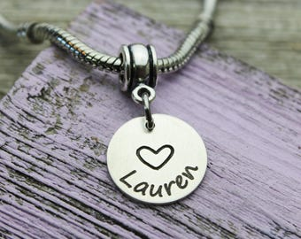 Custom Personalized Name Charm, Fits Pandora, Sterling Silver