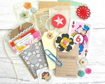 Junk Journal Inspiration Kit Includes Buttons Vintage Playing Card Handmade Embellishments For Scrapbooking Planners Smash Books Mini Albums