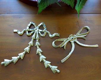 2 Brass Bows Festoons Wall Hangings 1980s Vintage Home Decor