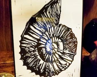 Nautilus Shell - Original Handcrafted Linoleum Cut Print by Philip Crow