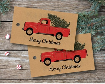 10 Antique Red Truck Christmas Tags . Kraft Christmas Tags. 2 x 3.5 inches