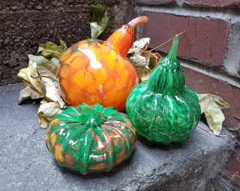 Autumn Gourds Set, Orange and Green Spotted Blown Glass Set of 3 Decorative Squash, Fall Pumpkin Decor By Avalon Glassworks