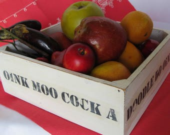 Wooden Box Farmhouse Tray Fruit Bowl Square White Painted Wood Crate Farm House Decor Oink Moo Black Letters Stencil Font Lettering