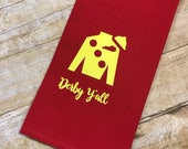 Red hand towel with yellow Jockey Silk, Kentucky Derby hand towel, Derby decor