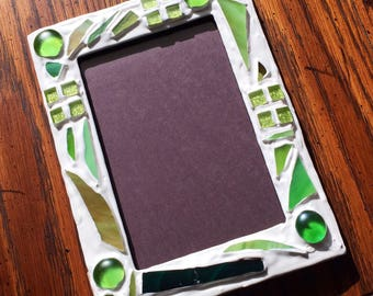 Green Recycled Stained Glass Picture Frame (holds a 4 x 6 photograph)