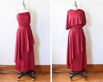 vintage 70s maxi dress, 1970s burgundy disco dress, grecian goddess draped dress with cape, medium m